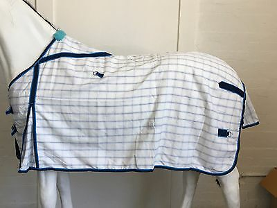 Axiom Polycotton Blue Check Ripstop Unlined Horse Rug 6'3