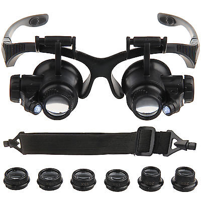 10/15/20/25X Watch Repair Dental Loupes Binocular Magnifying Glass LED Magnifier