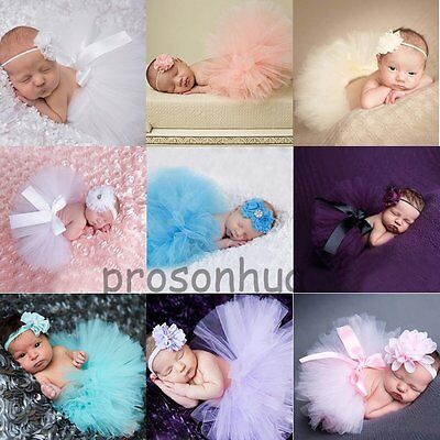Newborn Toddler Infant Baby Girl Headband + Tutu Skirt Photo Prop Costume Outfit