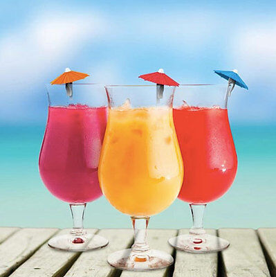 Mai Tai Silicone Umbrella Drink Glass Bottle Markers Set of 6 Gift Wine Beer