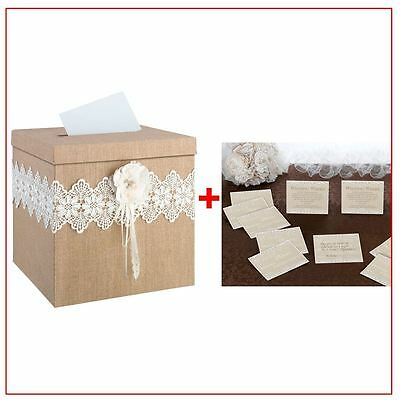 Burlap & Lace Well Wishing Wedding Card Box With 48 Country Lace Guest Cards