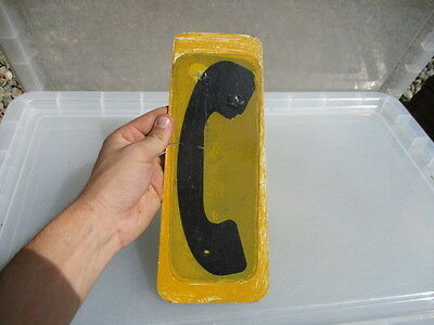 Old metal Telephone Sign Plaque Yellow with Black Phone Public Retro Feature