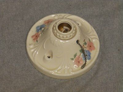 Vtg Flush Mount Porcelain Ceiling Light Shabby Floral Chic Old Sconce 853-16