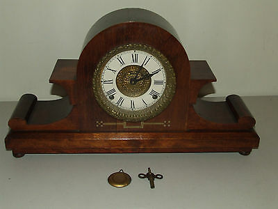Antique Working 19th C. Ingraham Victorian Elegant Fancy Mahogany Mantel Clock