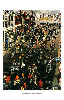 Dave Mann Ed Roth Studios Print Poster Motorcycle Parade Springfield IL Chopper