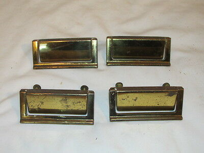Antique Set of 4 Keeler Brass File Draw Pulls with Screws FC Marked N18657 KBC