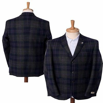 """Mens Checked Tailored Smart Heritage Blazer Suit Jacket Maddox St Sizes 38""""-44"""""""