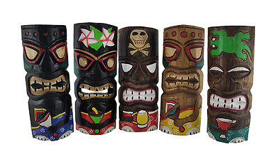 Set of 5 Partying Tiki Masks Hand Carved Wood Cocktail Tikis 12 in.