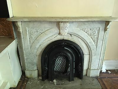Real Antique Carved White Marble Fireplace Mantel Acanthus Leaf Keystone 1201-16