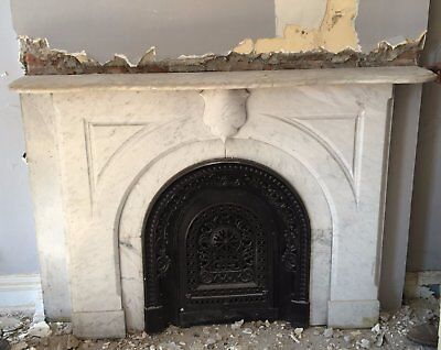 Real Antique Carved White Marble Fireplace Mantel Keystone Badge Old VTG 1203-16