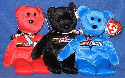 TY STORE RACER NASCAR BEANIE BABY SET of 3 - MINT with MINT TAGS