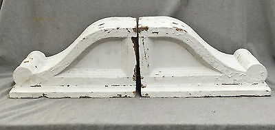 Pr Large Antique Wood Corbels Gingerbread Shabby Cottage Chic Old Vtg 1207-16