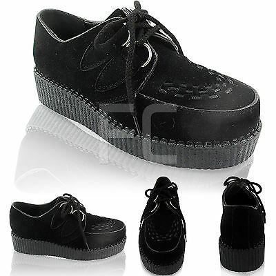 New Womens Flat Beetle Crushers Platform Lace Up Gothic Punk Creepers Shoes Size