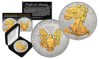 2016 U.S. SILVER EAGLE 1oz Coin MIXED-METALS 24KT GOLD w/ Silver MATTE Backdrop
