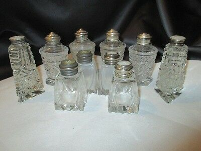 10 Elegant Crystal Glass Salt Pepper Shakers Sterling W Pearl Button Insert Tops