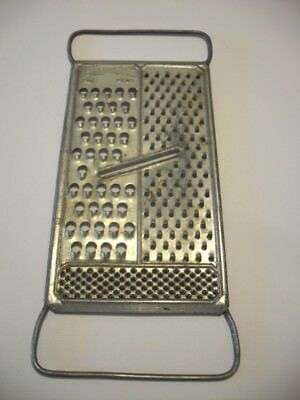 Vtg ALL IN ONE Steel FLAT Cheese Nut GRATER Coarse-Fine-Extra Fine Wire Handles