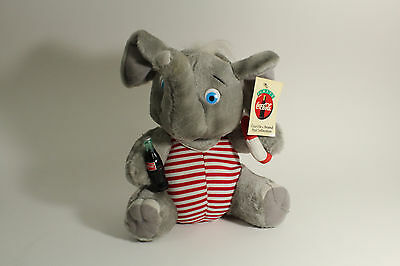 """Vintage 1993 COCA COLA 10"""" PLUSH ELEPHANT With Coke Bottle Play by Play Tags"""