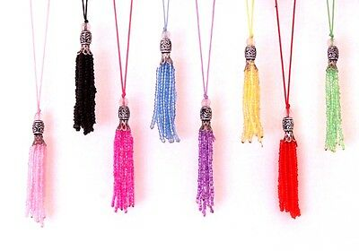 Pair Craft Tassels Beaded Mixed Colored Curtain Earrings Art Scrapbooking Sewing