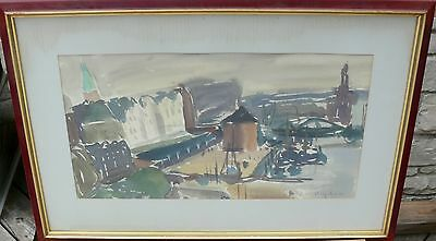 Original Signed Watercolor German Mid Century Modern Volker Detlef Heydorn
