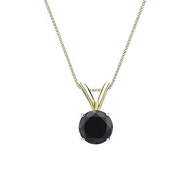 """1 Ct Round Cut Black Solid 14k Yellow Gold Solitaire Pendant 18"""" Necklace"""