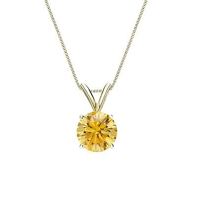 """2.50 Ct Round Canary Yellow Solid 14k Yellow Gold Solitaire Pendant 18"""" Necklace"""