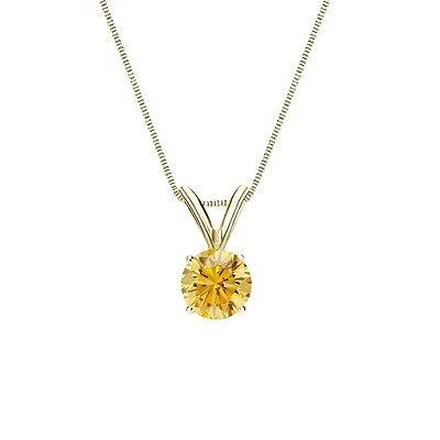 """1.50 Ct Round Canary Yellow Solid 14k Yellow Gold Solitaire Pendant 18"""" Necklace"""