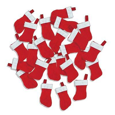 24 Mini 4.5cm Hanging Felt Christmas Stockings for Crafts & Decorations