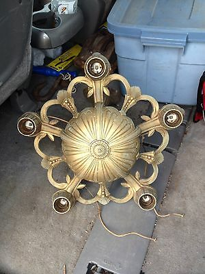 "1930's 16 1/2"" 5 Bulb Hanging Light Fixture"