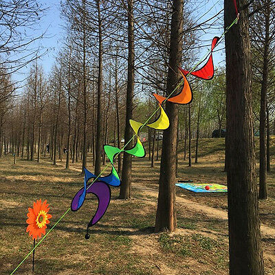 Rainbow Curlies Spiral Windmill Wind Spinner Camping Tent Home Garden Decoration