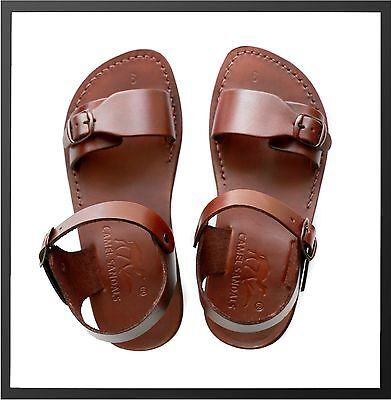 4d5d96419f44 Brown Jesus Sandals Camel Genuine Leather Greek Roman Men Shoes US 5-12 EU  36