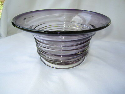 Large Art Glass Hat Vase Ikea Line Rib Ring Clear To Dark Amethyst