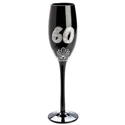 60th Birthday Elegant Champagne Flute Sparkly Wine Decorated Glass Gift