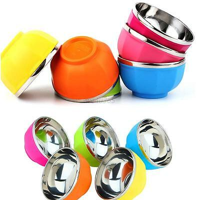 Practical Drop Resistance Double Layers Heat Insulation Stainless Child Bowl New
