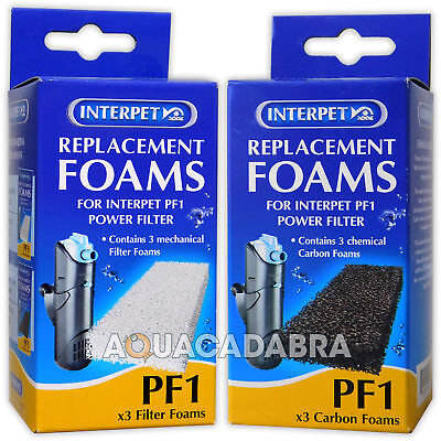 Interpet Pf1 Foam & Carbon Dual Pack Filter Media Pads Aquarium Fish Tank