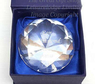 """PERSONALISED CRYSTAL GLASS PAPERWEIGHT 3"""" Birthday Wedding Gift ENGRAVED FREEPP"""