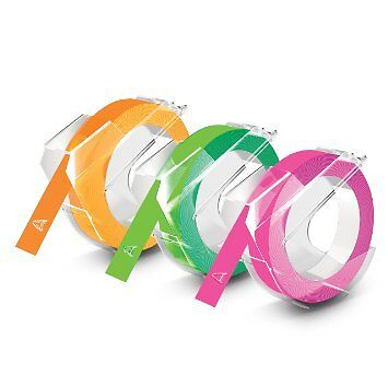 """Dymo 1933353 3/Pack Neon Colors Self Adhesive Labeling Tape for Embossers 3/8"""""""