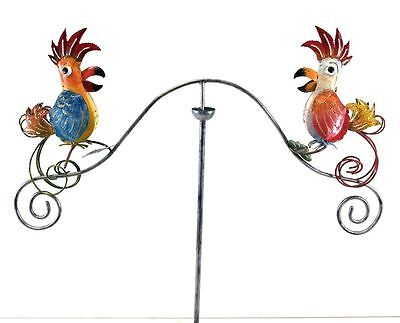 Metal Garden Wind Spinner, Balance Stake - Funky Rooster Chickens