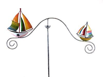Metal Garden Wind Spinner, Balance Stake - Colour Sailing Ship Boats