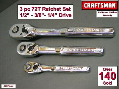 Craftsman 3 Piece 84 T Tooth Ratchet Drive Set Thin Profile - NEW