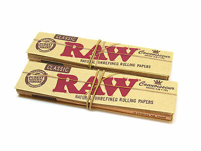RAW Classic King Size Slim Connoisseur Rolling Papers - 2 Packs- 32 leaves Tips