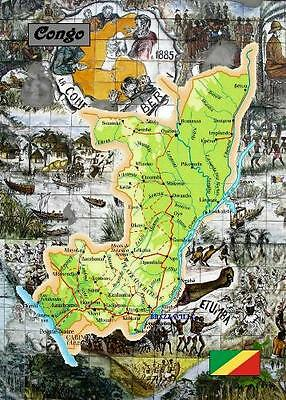 Congo-Brazzaville Country Map New Postcard