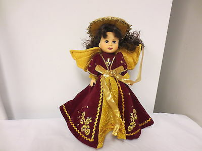 """Older Effanbee 11"""" Doll Tree Topper-Angel in Red and Gold"""