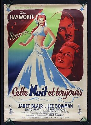 TONIGHT AND EVERY NIGHT CineMasterpieces FRANCE MOVIE POSTER RITA HAYWORTH 1945