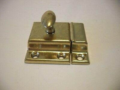 NEW Brass Plated Steel Hoosier Cupboard Cabinet Door Spring Latch Twist Knob NIP