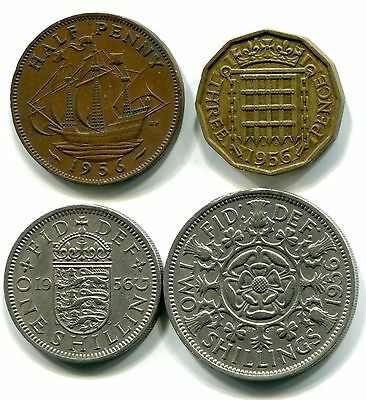 Great Britain 1956 1/2 Penny, 3 Pence, Shilling & Florin, Circulated