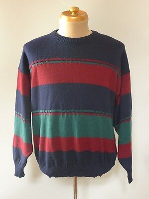Vintage retro true 80s L wool jumper mens red blue green excellent