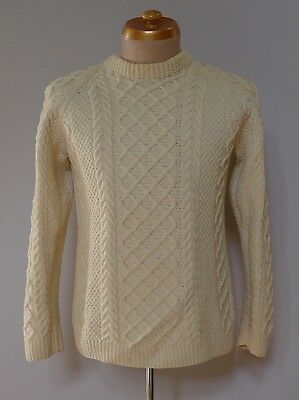 Vintage retro true 70s S  M hand knit wool cream cable knit jumper mens