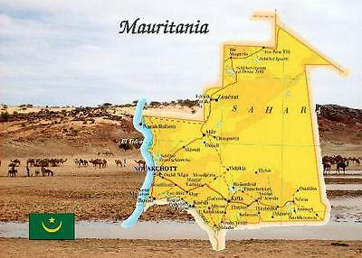 Mauritania Country Map New Postcard