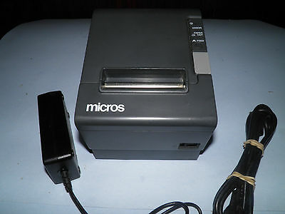 Micros Epson TM-T88IV  M129H Thermal POS Receipt Printer Serial w Power Supply