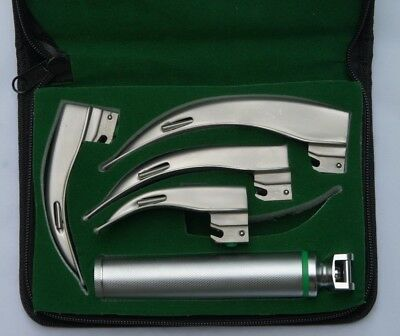 Fiber Optic Macintosh Laryngoscope Set With 4 Blades + C Size Handle,